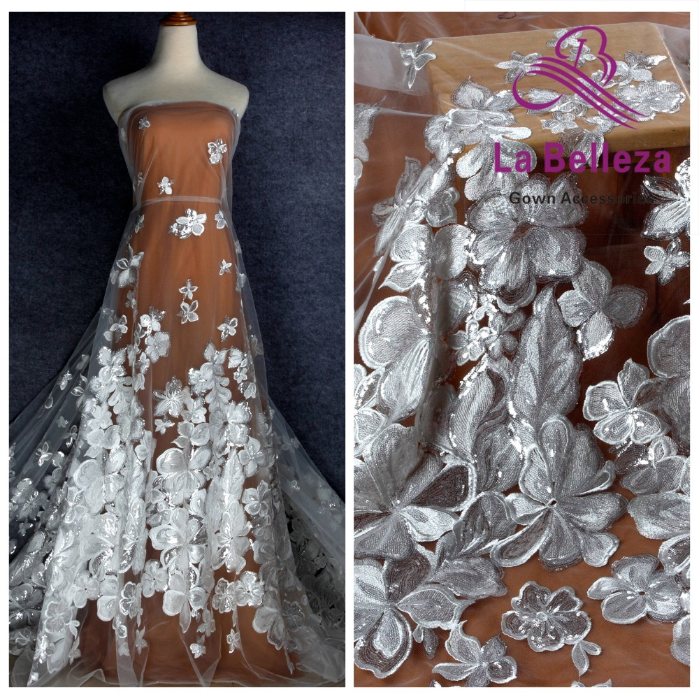 La Belleza 2019 new big flowers polyester with silver sequins on mesh embroidery wedding dress lace