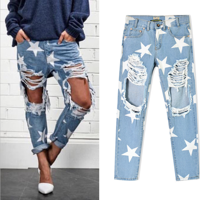 Cwlsp 2017 Women Print Five Pointed Star Vintage Boyfriend Holes Ripped Jeans Denim Trousers Female
