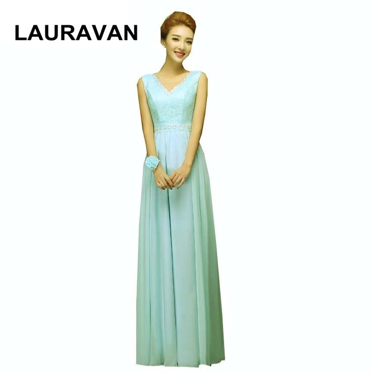 V Neck Chiffon Sleeveless A Line Long Ladies Elegant Light Mint Blue Bridesmaid Party Dresses Under 100 Brides Maid Dress