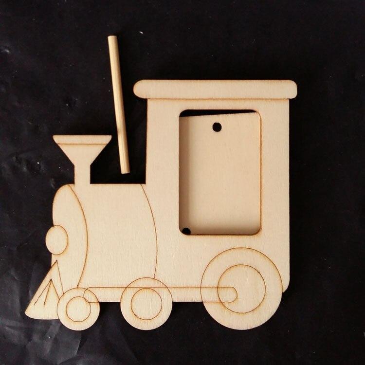 1X Base blanco tren locomotora de madera maciza marcos de fotos para ...