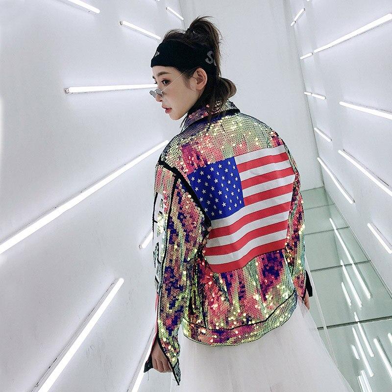 Printemps et automne Hip Hop Style Purpal paillettes Denim femmes vestes et manteaux lettres et drapeau des USA retour Punk Jean veste