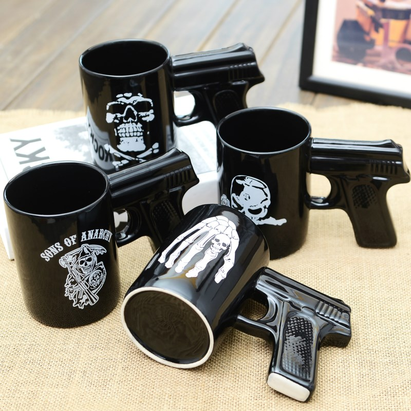 office coffee cups. Novelty Funny Black Pistol Skull Mugs Home And Office Coffee Cups Creative Arms Mug Tea Milk Cup Lemon Juice Drinkware-in From \u0026 Garden On E