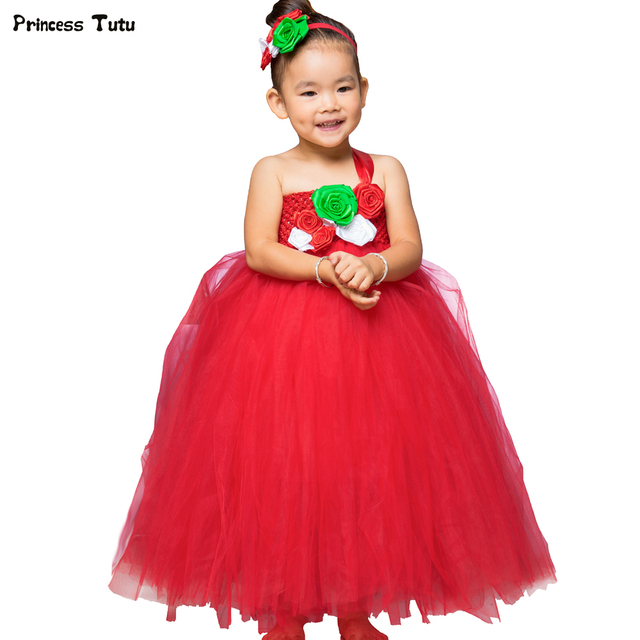 girls christmas dress red xmas costume kids girls christmas clothes princess party new year flower tutu - Christmas Dresses
