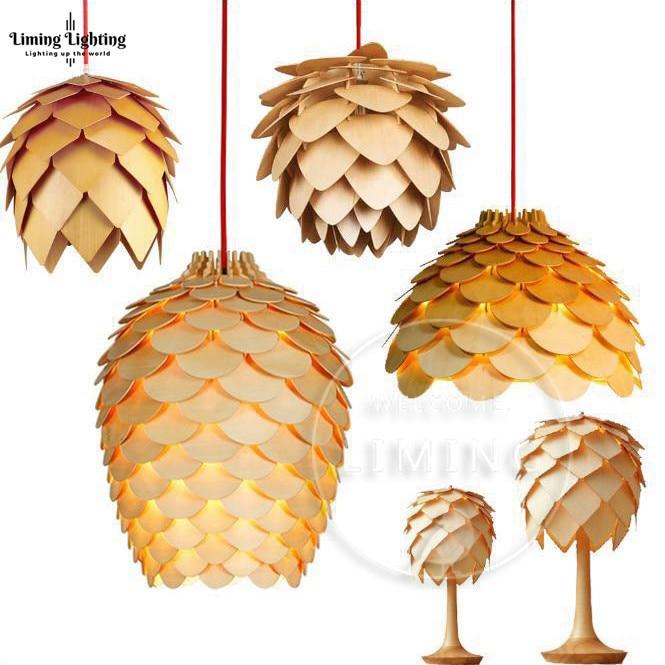 Nordic Morden OAK Wooden Pinecone Led Pendant Lights Hanging Wood Modern Lamp Dinning Room Restaurant Retro Fixtures Lighting