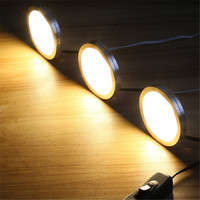 High Quality 6pcs 2W 200lm LED Aluminum Round Ultra Thin Cabinet Colset Night Light Kit With