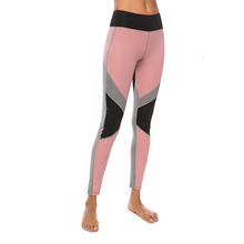 New Patchwork Gym Leggings Women High Waist Fitness Workout Jeggings Sports Running Pink Sweatpants  Compression Tights