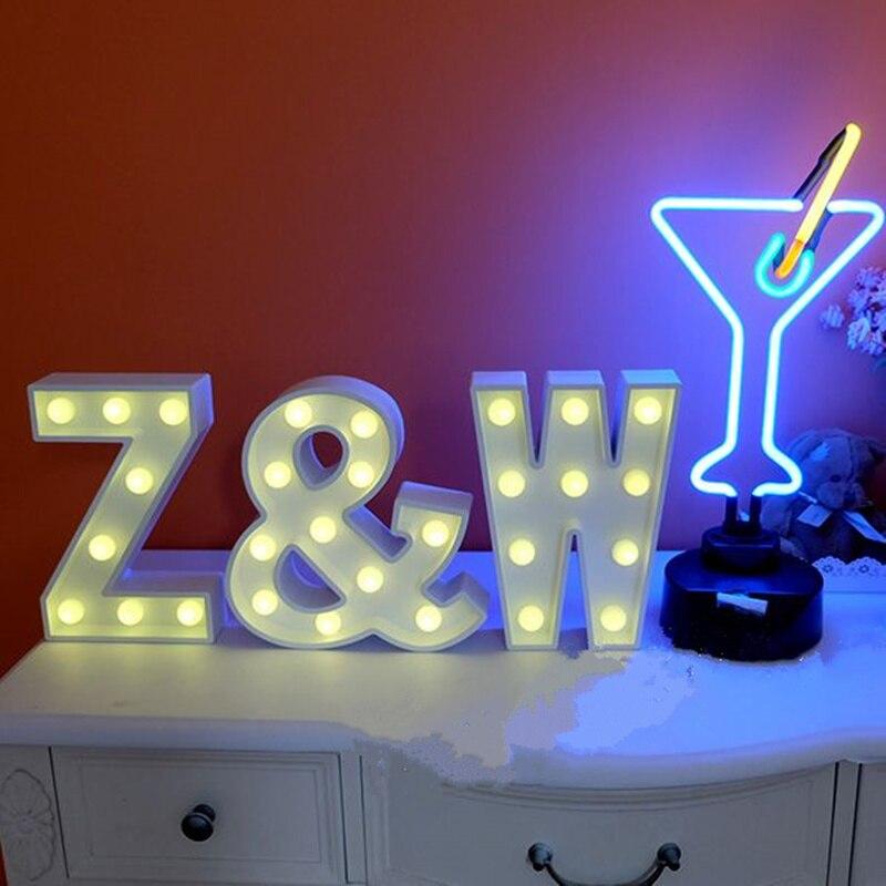 LED Alphabet Decoration Props Lights Wedding Decoration Supplies White Wooden Props night light Wedding letter lights lamp