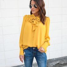 66165faaadf7eb 2018 Summer Women Loose Casual Shirt Blouse Chiffon Women Yellow Royal Blue  Office Women color bow