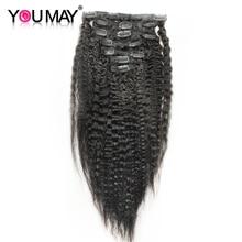 Kinky Straight Clip In Human Hair Extensions Brazilian Remy Hair 100 Human Natural Hair Coarse Yaki
