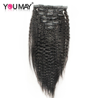 Kinky Straight Clip In Human Hair Extensions Brazilian Remy Hair 100% Human Natural Hair Coarse Yaki Clip Ins You May