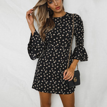 Contrast Polka Dot Mini Dress Womens Black Red Blue Casual Summer Womens Dresses Stretchy Slimming Party Dress Vintage Autumn недорого
