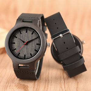 Image 2 - Minimalist Sandal Wood Watch for Couple Brand Design Black Real Leather Red/Black Second Hand Quartz Bracelet Sweetheart Gift