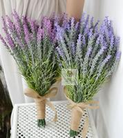 High Quality Handmade Bride Hand Holding Flowers Artificial Lavender Flower Wedding Bridal Bridesmaid Bouquet Home Decoration