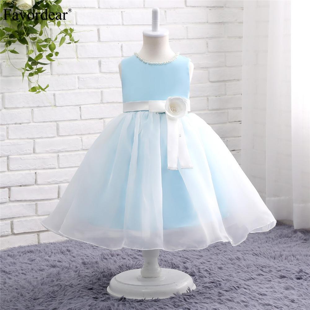 Favordear Kids Pageant   Dress   Fast Shipping Ball Gown Short Light Blue   Flower     Girl     Dress   Cute