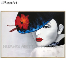 High Quality Artwork Hand-painted Impressionist Beauty Lady Portrait Oil Painting on Canvas Elegant with Hat