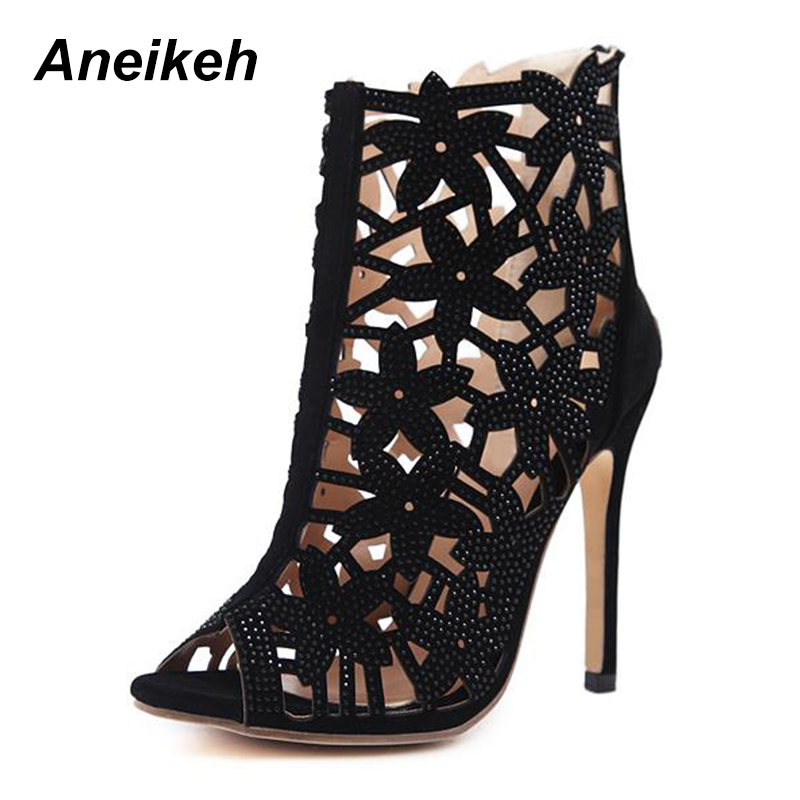 цена на Aneikeh New Summer Roman Shoes Women Sandals Sexy Rhinestone Hollow Peep Toe Sandals High Heels Woman Ankle Boots 938-138#