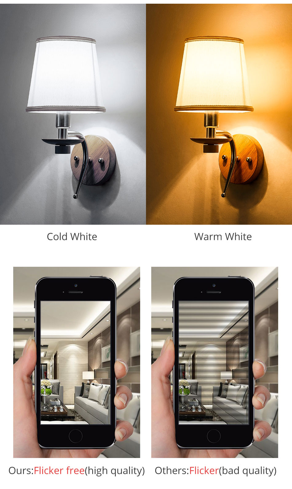 LED Bedside Wall Lamp E14 Bulb Fixtures Wood Aluminum Reading Light Fabric Glass wall Sconce Living Room Bedroom Indoor Lighting (5)