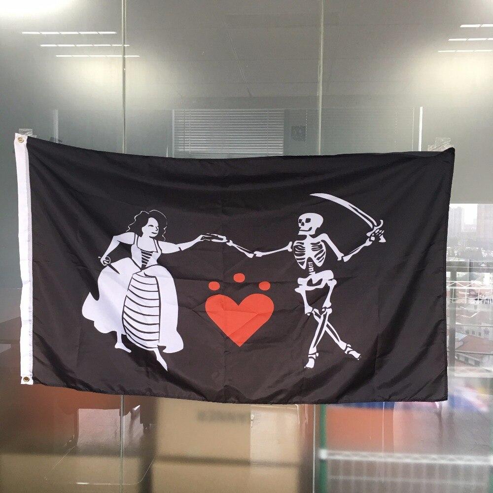 Pirate Stede Bonnett Heart Bone Skull 3x5 Polyester Flag