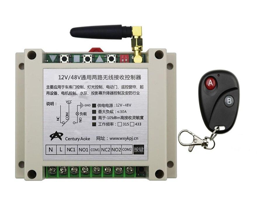 ФОТО 2017 New DC12V 24V 36V 48V 10A 2CH 2Channe RF wireless remote control switch System, 1 X Transmitter + 1 X Receiver,315/433 MHZ