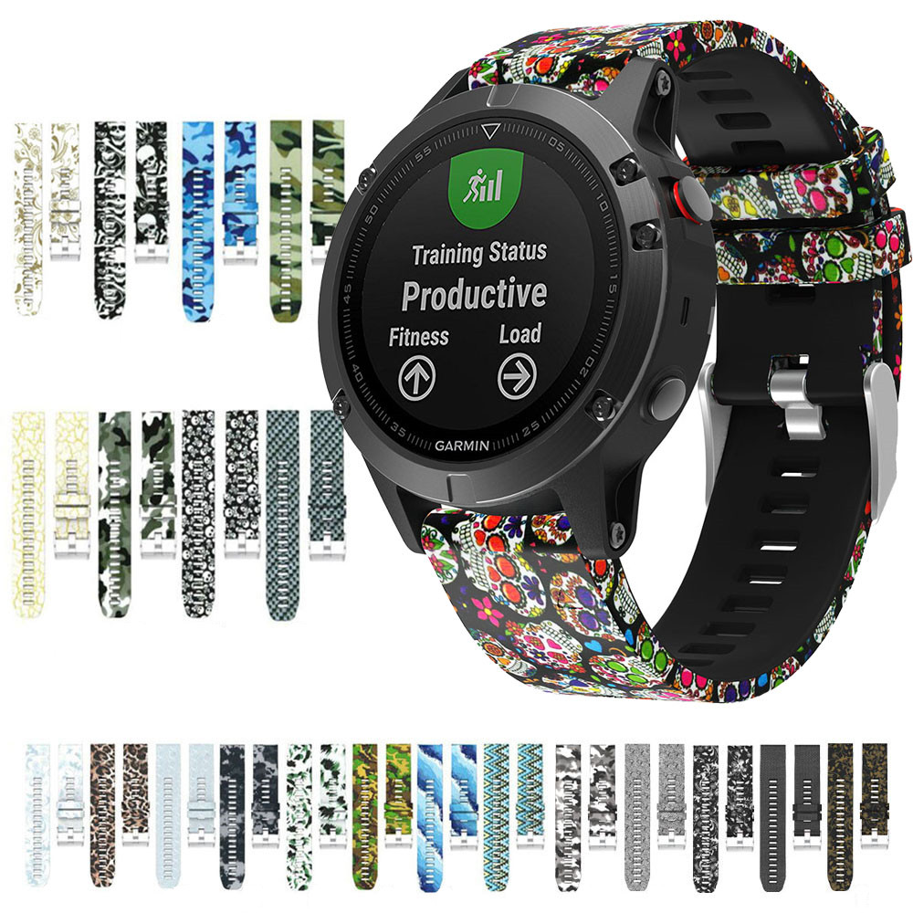Printed Silicone Band for Garmin Fenix 5 Plus Watch Band Soft Bracelet for Garmin Fenix5/ Forerunner 935 Smart Watch Strap image