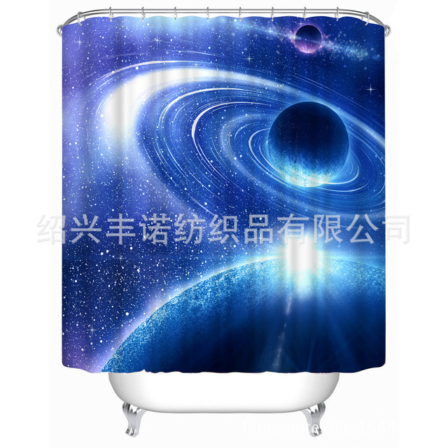3D Mysterious Blue Firmament High Definition Printing Shower Curtain  Polyester Waterproof Mould Proof Bathroom Shower Curtain
