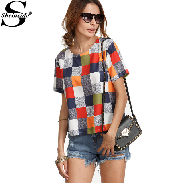 Sheinside Multicolor Round Neck Plaid Casual Tops Women Casual Wear Shirt Summer Short Sleeve Color Block Blouse