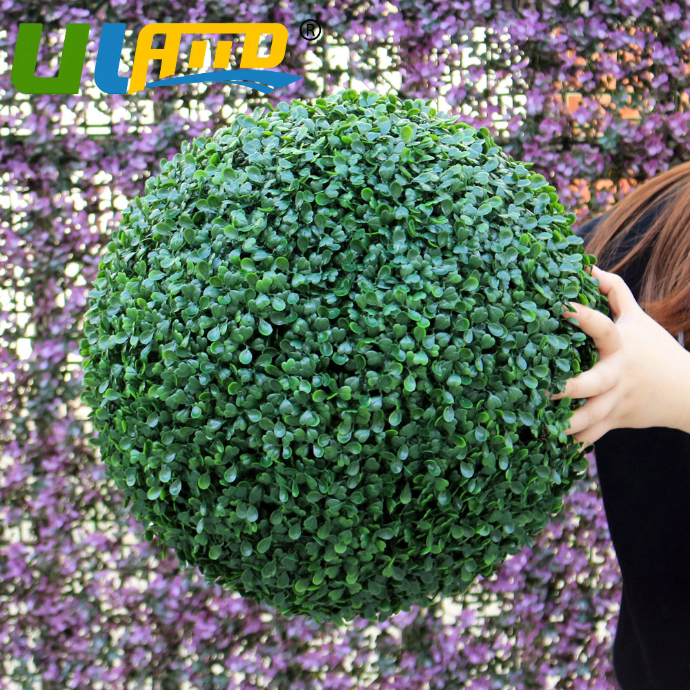ULAND Artificial Boxwood Ball Kissing Topiary Plant Green Hanging 48cm Outer Diameter UV Proof Garden Outdoor Wedding Decoration