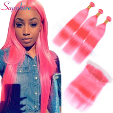 Sapphire Straight Pink Brazilian Human Hair Weave Bundles 3 Bundles With Lace Frontal Remy Hair Extensions Free Shipping