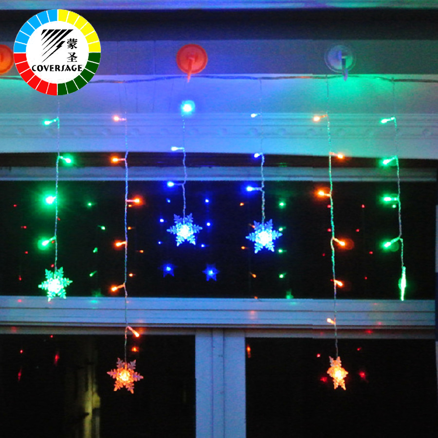 Coversage Christmas Fairy String Lights Xmas Bröllop Garden Party Juldekoration Utomhus Light Curtain Led String Lights