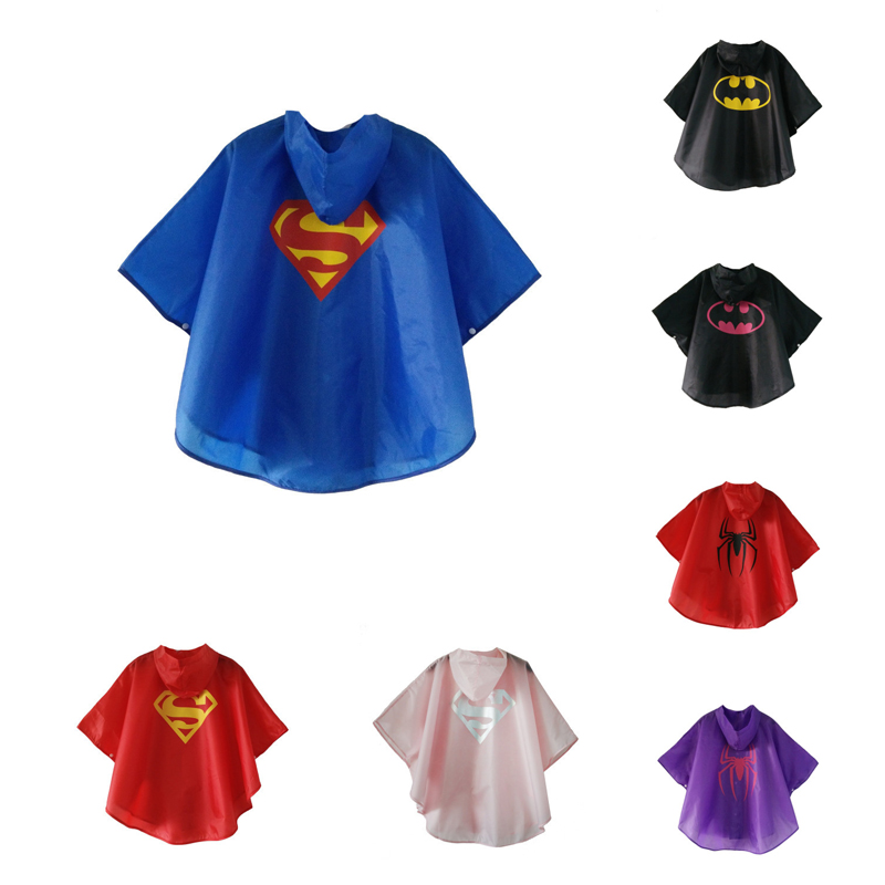 1PC Cartoon Superman Waterproof Kids Raincoat For Children Rain Coat Rainwear/Rainsuit Student Poncho Drop Shipping DS29