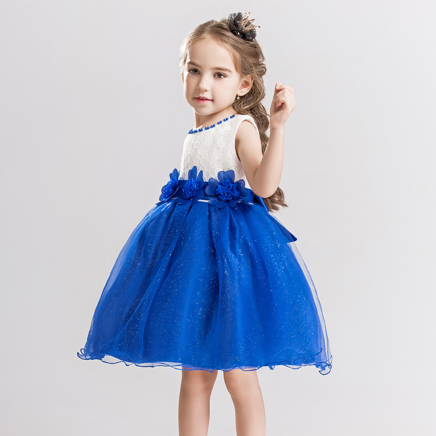 Tjejer klänning ny sommarblomma barnparty klänningar för bröllop - Barnkläder - Foto 4