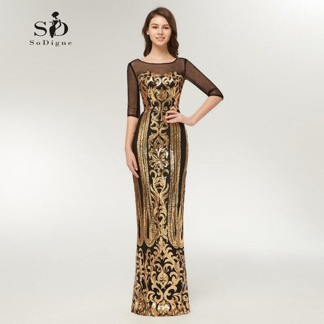 2df09ea2564 Robe de soirée en or robe droite bal longue robe grande taille pas cher  demi manches