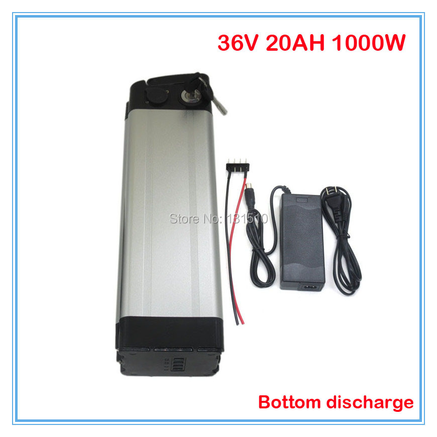 1000W 36V Rechargeable li ion battery 36V 20AH lithium battery Bottom discharge 36V electric bicycle With 2A charger 30A BMS