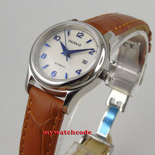 26mm parnis 화이트 다이얼 21 보석 miyota 자동식 고급 여성 시계