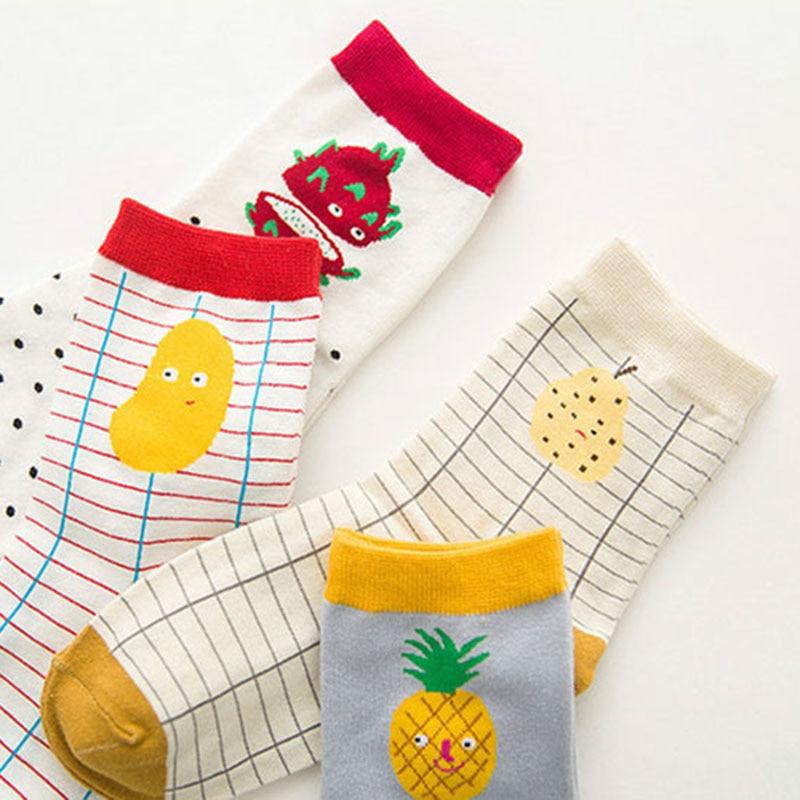Brand Fashion Creative Fruits Patterns Tide Cotton Socks For Women Cute Apple Watermelon Pineapple Stripe Funny Socks 5pairs/lot