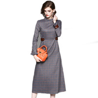 Fashion Plaid Print Dress High Quality Brand New Designer Women Autumn Winter Dresses Long Sleeve Mid