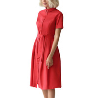 Women's Dress Office Lady Summer Casual Solid Color Button Lapel Slim Waist Belt Business Work Knee-length Party Dress