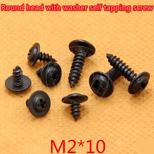 Купить с кэшбэком 1000pcs/lot M2*10mm 2mm Steel With Black Round Head With Washer Micro Self Tapping Screw Round washer head screw