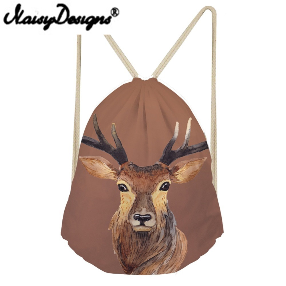 Noisydesigns Cartoon Painting Elk/lion/rabbit/fox/cat Pattern Printing Drawstring Backpack School Bags For Girl Daypack Mochila