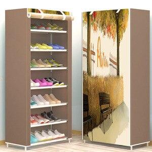 Image 3 - แปดชั้นโมเดิร์น Minimalist Thicken ไม่ทอตู้เก็บรองเท้า DIY ASSEMBLY กันฝุ่นรองเท้า Organizer ชั้นวางของ