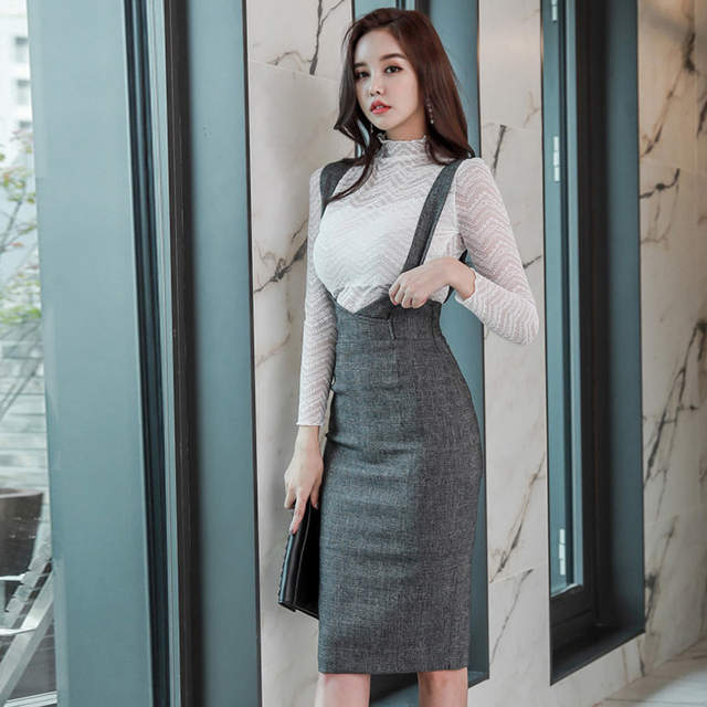 bcbd9c1c53080 US $41.5 |Foamlina Women Bodycon Dress Set Office Ladies Two Pieces Sets  White Lace Shirt and High Waist Suspender Pencil Skirt Suits-in Women's  Sets ...