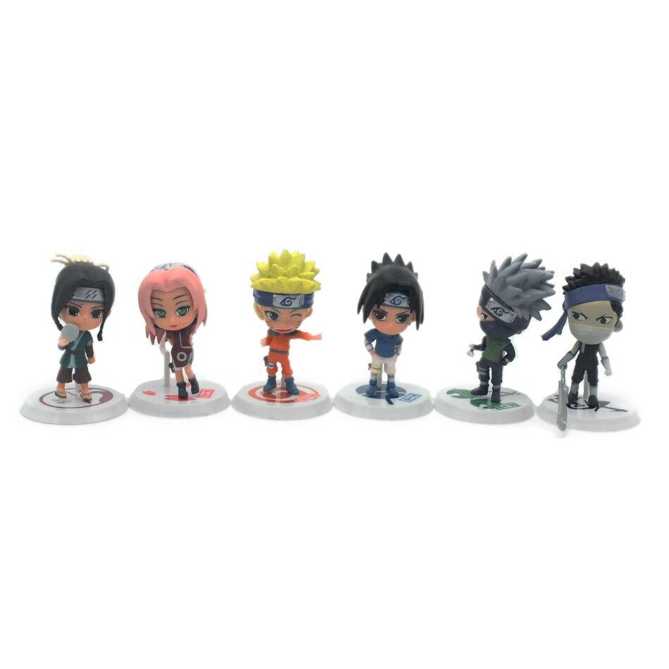 Chanycore 6Pcs / Set Q-version Ny Naruto Figur Set Sasuke Sakura - Toy figuriner