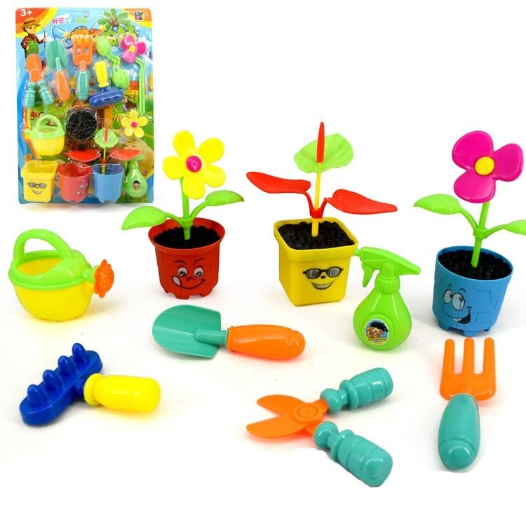 Happy farm flower toy set miniature farm toy garden watering tools