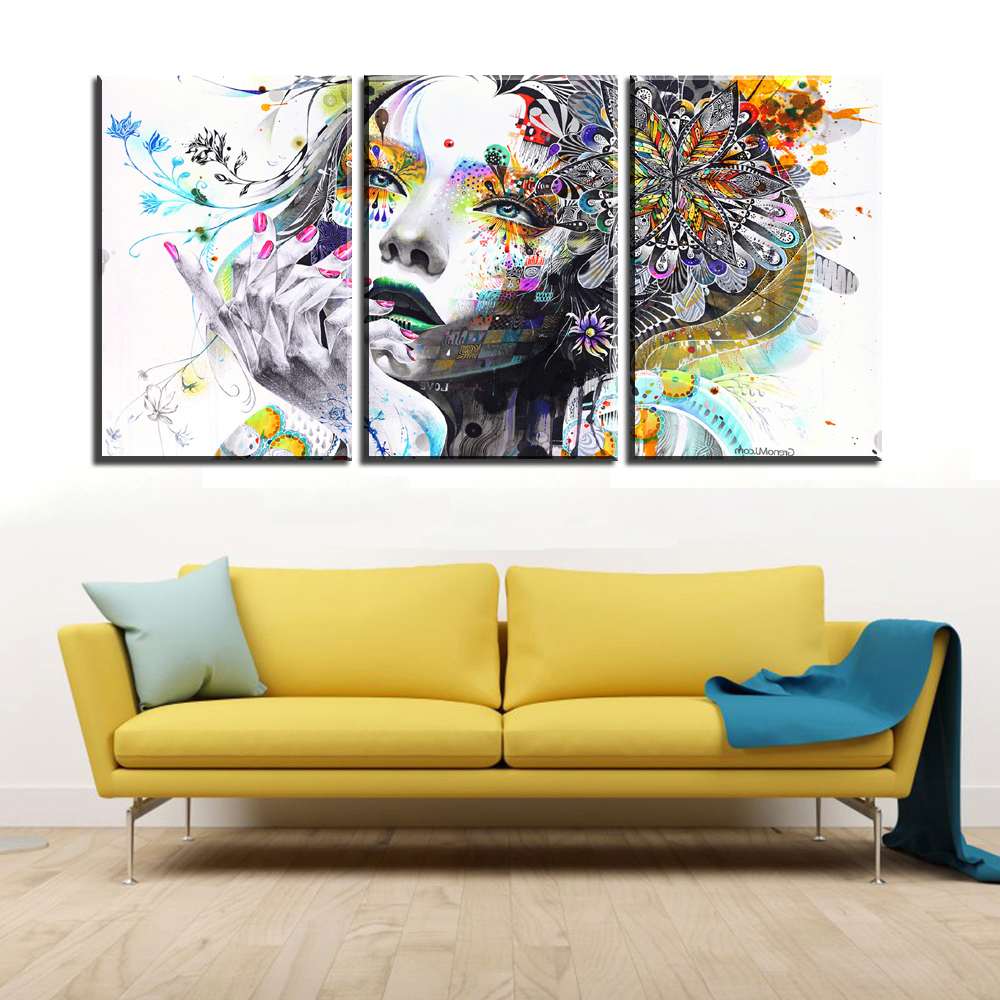 xdr137 Thinking girl with flower Fashion Modern Canvas Painting Wall ...