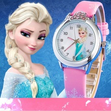 Fashion Cartoon Children Watch Princess Elsa Anna Watches Girl Kids Student Cute Leather quartz Wrist girl Gift