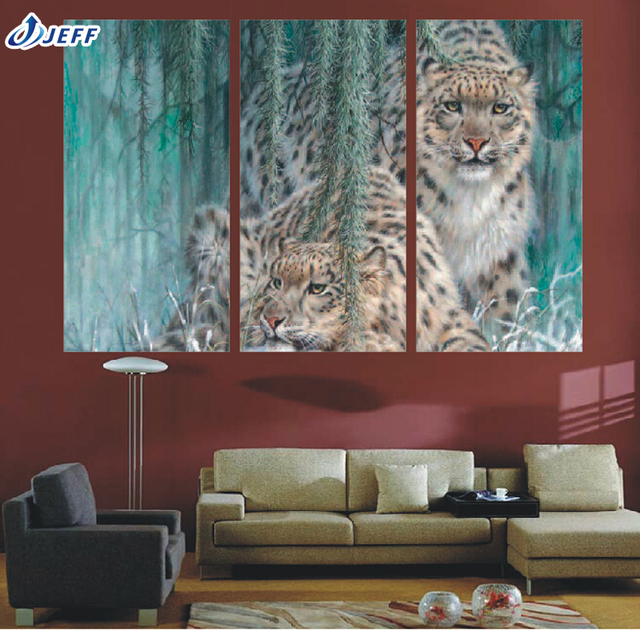 3 Piece Canvas Art Ideas Large HD Forest Cheetah Print Painting For ...