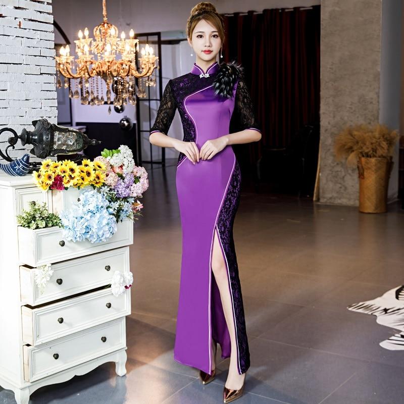 Plus SIze 3XL 4XL 5XL Women Slim Cheongsam Chinese Style Evening Party Dress Classic Lace High Split Qipao Traditional Vestidos
