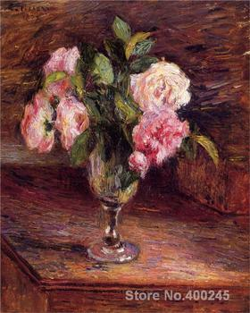 Famous Handmade oil paintings by Camille Pissarro Roses in a Glass wall art High quality
