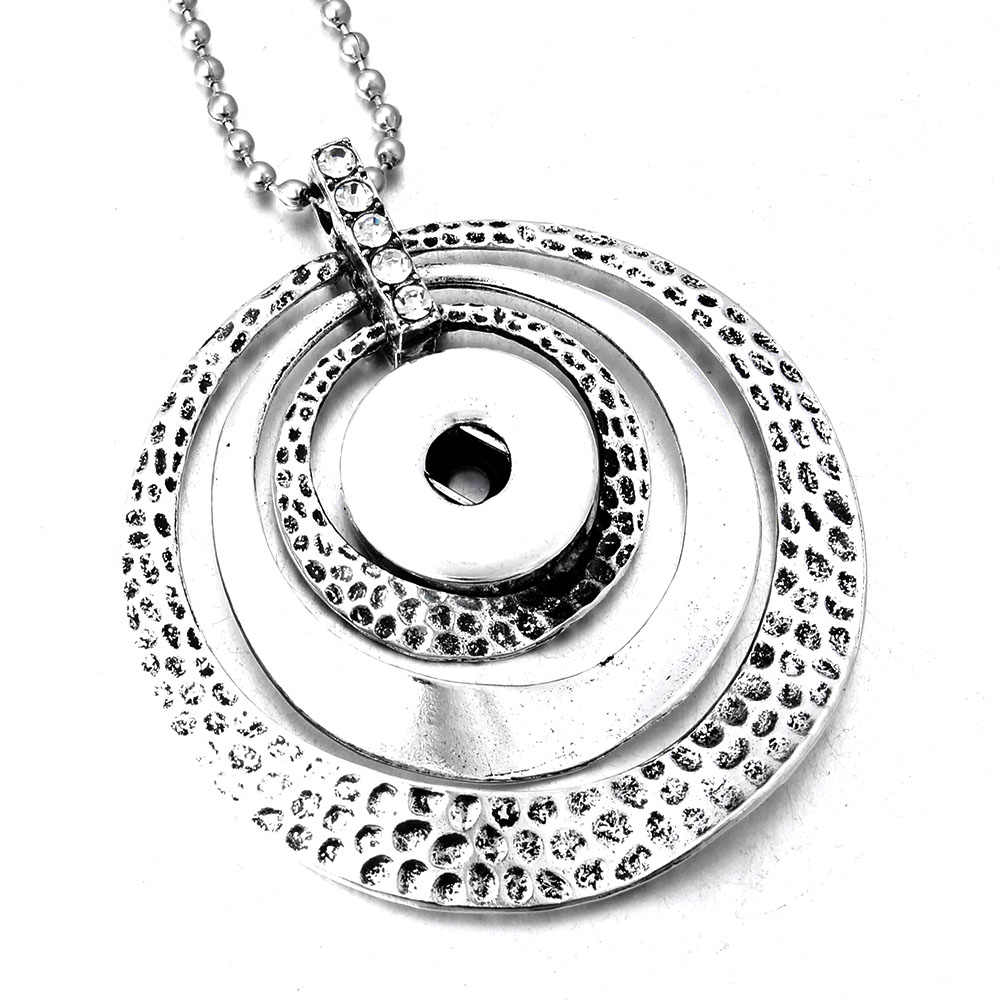 New Round Circle Snap Button Pendant Necklace Fit 18mm Snaps Necklace With 80cm Bead Chains Interchangeable Button Jewelry