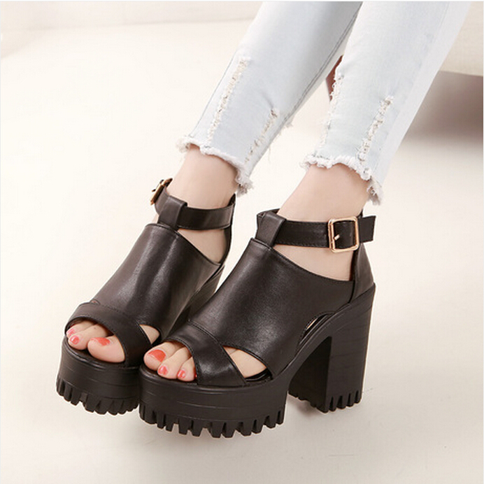 Open Toe 2015 Caged Summer Women Shoes Black Leather Peep Flat Platform High Heel Gladiator Sandals Boots Chunky Thick - Tina's store
